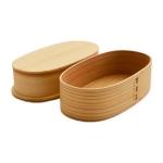 (พรีออเดอร์) กล่องข้าวไม้ กล่องข้าวญีปุ่น เบนโตะ กล่องห่ออาหารกลางวัน ไม้แท้ ลายสวย ปลอดภัย ทรงรี สองชั้น สีบีช