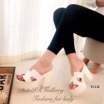 รองเท้าส้นตึก Style Hermes (สีขาว)