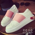 รองเท้าผ้าใบทรงสวมสีทูโทน (สีชมพู)