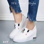 รองเท้าผ้าใบเสริมส้นสกรีนลาย (สีขาว)