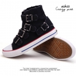 รองเท้าผ้าใบสไตล์ Buckle (สีดำ)