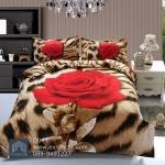 (Pre-order) ชุดผ้าปูที่นอน ปลอกหมอน ปลอกผ้าห่ม ผ้าคลุมเตียง ผ้าฝ้ายพิมพ์ 3D รูปกุหลาบแดง พื้นลายเสือ