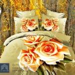 (Pre-order) ชุดผ้าปูที่นอน ปลอกหมอน ปลอกผ้าห่ม ผ้าคลุมเตียง ผ้าฝ้ายพิมพ์ 3D รูปกุหลาบสีทอง-ส้ม