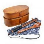 (พรีออเดอร์) กล่องข้าวไม้ กล่องข้าวญีปุ่น เบนโตะ กล่องห่ออาหารกลางวัน ไม้แท้ ลายสวย ปลอดภัย ทรงรี สองชั้น สีโอ๊ค