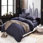 (Pre-order) ชุดผ้าปูที่นอน ปลอกหมอน ปลอกผ้าห่ม ผ้าคลุมเตียง ผ้าฝ้าย สีพื้น สีเทาม่วง