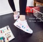รองเท้าผ้าใบ Rainbow ทรง sport (สีชมพู)