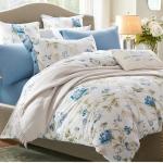 (Pre-order) ชุดผ้าปูที่นอน ปลอกหมอน ปลอกผ้าห่ม ผ้าคลุมเตียง ผ้าฝ้ายพิมพ์ลายดอกไม้สไตล์วินเทจ สีฟ้า