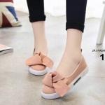 รองเท้าผ้าใบทรงคัทชุแต่งโบว์ (สีชมพู)