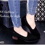 รองเท้าคัทชูส้นเตี้ยทรง Loafer (สีดำ)