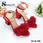 รองเท้าส้นตันแต่งพู่ (สีแดง)