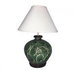 โคมไฟดินเผา แบบตั้งโต๊ะ โคมไฟหัวเตียง วินเทจ สีเขียว