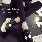 รองเท้ามัฟฟินลายดาว MIU MIU Style (สีดำ)
