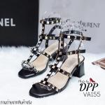 รองเท้าสไตล์ Valentino Rockstud Leather Block Heel Sandal (สีดำ)