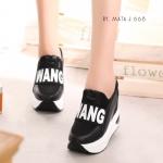 รองเท้าผ้าใบเสริมส้นสีทูโทน (สีดำ)
