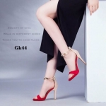 รองเท้าส้นเข็มรัดข้อแต่งอะไหล่ (สีแดง)