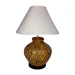 โคมไฟดินเผา แบบตั้งโต๊ะ โคมไฟหัวเตียง วินเทจ สีน้ำตาล