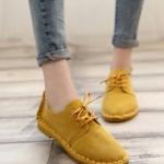 รองเท้าผ้าใบสีเรียบสไตล์แฟชั่นเกาหลี (สีเหลือง)