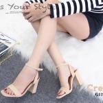 รองเท้าส้นตัน Style Zara (สีครีม)