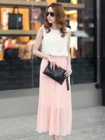 ชุดเดรสยาวสีชมพู ผ้าชีฟอง เสื้อแขนกุดสีขาว เย็บผ้าลูกไม้ สวยหวาน เอวยืด