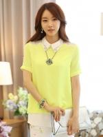 เสื้อเชิ้ตทำงานสีเหลือง แขนสั้น คอปก คอประดับเลื่อม สวยๆ