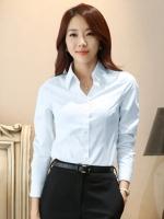 เสื้อเชิ้ตทำงานผู้หญิงสีฟ้า แขนยาว คอปก กระดุม ทรงเข้ารูป แนวเรียบร้อย 5-0095-ฟ้า
