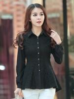 เสื้อเชิ้ตทำงานสีดำ แขนยาว คอปก ชั้นนอกเย็บด้วยผ้าลูกไม้ สวยหรู