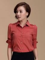 เสื้อเชิ้ตทำงานสีแดง แขนยาว คอปก เย็บกระดุม สีทอง เรียบหรู