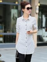 เสื้อเชิ้ตทำงานผู้หญิงวันสบายๆสีขาว ลายจุดสีดำ แขนยาว คอปก กระดุมหน้า 5-0089-ขาว