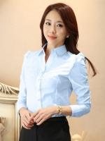 เสื้อเชิ้ตทำงานผู้หญิงสีฟ้า แขนยาว ปกเสื้อประดับเลื่อม ไหล่แต่งระบาย แนวน่ารัก 5-0093-ฟ้า