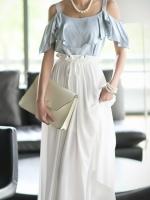ชุดเดรสยาว กระโปรงสีขาว ผ้าชีฟอง เอวยืด สวยหวาน