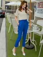 กางเกงขายาวแฟชั่น สีน้ำเงิน เอวยืด ใส่ลำลอง กับเสื้อยืด วันสบายๆ