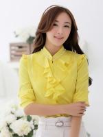 เสื้อเชิ้ตทำงานสีเหลือง แขนยาว คอเย็บตกแต่งด้วยมุุก หน้าอกเย็บระบาย เอวเข้ารูป สวยหรู
