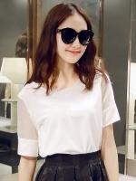 เสื้อแฟชั่นสีขาว คอกลม ผ้าชีฟอง แขนสั้น ใส่กับกระโปรง หรือ กางเกงก็น่ารัก