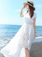 ชุดใส่ไปเที่ยวทะเลสีขาว ผ้าชีฟอง เอวยืด คอกลม แขนสั้น กระโปรงหน้าสั้นหลังยาว