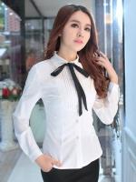 เสื้อเชิ้ตทำงานสีขาว แขนยาว คอปก เอวเข้ารุป คอผูกโบว์น่ารัก