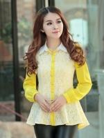เสื้อเชิ้ตทำงานสีเหลือง แขนยาว คอปก ชั้นนอกเย็บด้วยผ้าลูกไม้ สวยหรู
