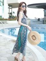 ชุดใส่ไปเที่ยวทะเลสีน้ำเงิน ชุดเดรสยาว แขนกุด คอกลม ผ้าฝ้าย ลายสวยๆ