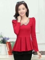 เสื้อทำงานแฟชั่นสีแดง แขนยาว คอบัวประดับเลื่อม ดูดี