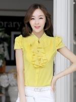 เสื้อทำงานสีเหลือง แขนสั้น เอวเข้ารูป หน้าอกเย็บระบาย คอเย็บตกแต่ด้วยลูกปัด น่ารัก