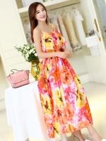 ชุดเดรสใส่ไปเที่ยวทะเล สายเดี่ยว หน้าอกเย็บระบาย ผ้าชีฟอง ลายดอกไม้สีส้ม สวยหวาน
