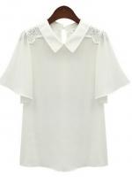 เสื้อเชิ๊ตทำงานสีขาว ผ้าชีฟอง คอปก แขนสั้นระบาย สวยหรู