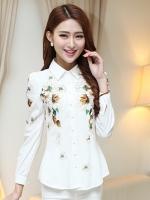 เสื้อเชิ้ตทำงานสีขาว ลายดอกไม้ แขนยาว คอปก กระดุมหน้า สวยหรู