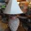 โคมไฟตั้งโต๊ะ โคมไฟดินเผาด่านเกวียน ทำจากแจกันดินเผาด่านเกวียน แกะลายดอกพิกุลสีโคลนน้ำตาล thumbnail 1