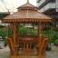 ศาลาทรงไทย ทรงแปดเหลี่ยม หลังคาสองชั้น มีพนักพิงและม้านั่งสามด้าน ไม้เนื้อแข็งรวม ศาลาไม้สำหรับนั่งเล่นในสวน thumbnail 2