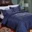 (Pre-order) ชุดผ้าปูที่นอน ปลอกหมอน ปลอกผ้าห่ม ผ้าคลุมเตียง ผ้าไหม ผ้าซาติน และผ้าฝ้าย สีน้ำเงิน-ขาว thumbnail 1