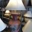 โคมไฟตั้งโต๊ะ โคมไฟดินเผาด่านเกวียน ทำจากแจกันดินเผาด่านเกวียน แกะลายช้าง สีโคลนน้ำแดง-ดำ thumbnail 1