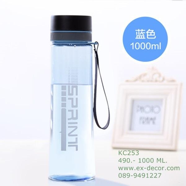 Pre-Order กระบอกน้ำแก้วคริสตัลใสสุญญากาศ กระติกน้ำร้อน กระติกน้ำเย็น สีฟ้าพาสเทล สำหรับนักกีฬาและกิจกรรมกลางแจ้ง ขนาดใหญ่ 1000 มล.