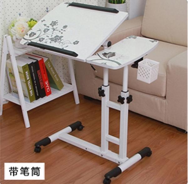 Pre-order โต๊ะทำงาน โต๊ะวางคอมพิวเตอร์ โต๊ะวางแล็ปท้อป ขาคู่ แบบมัลติฟังก์ชั่น ปรับระดับได มีล้อเลื่อน แผ่นท้อปพิมพ์ลาย สีขาว