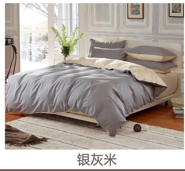 (Pre-order) ชุดผ้าปูที่นอน ปลอกหมอน ปลอกผ้าห่ม ผ้าคลุมเตียง ผ้าฝ้าย สีพื้น สีเงิน
