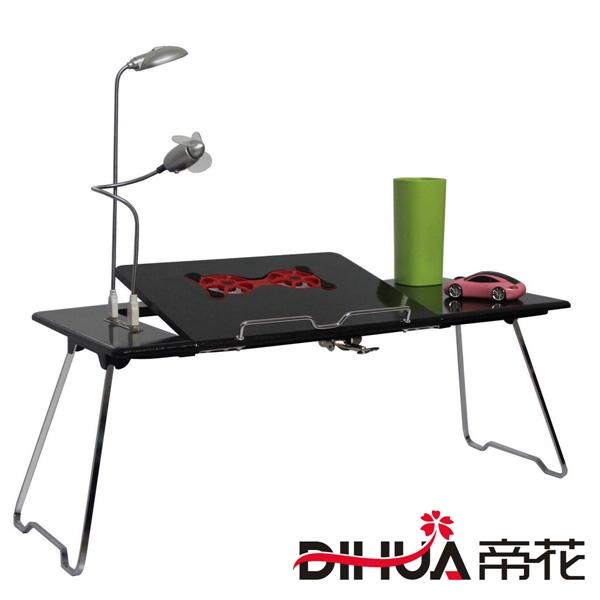 Pre-order ชุดโต๊ะคอมพิวเตอร์ โต๊ะแล็ปท้อปสีดำ แบบมีพัดลมระบายอากาศ มีช่อง USB และโคมไฟ LED ส่องสว่าง